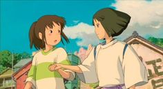 When the boy grabs the girl's hand and runs with her to save the day-- This is the moment of true love in every Miyazaki film