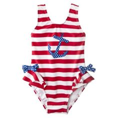 Circo Infant Toddler Girls 1-Piece Anchor Swim Suit - Red/White/Blue  Price:$12.00