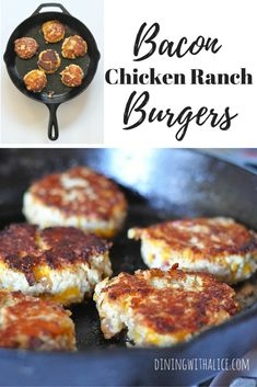 The Bacon Chicken Ranch Burgers recipe starts with ground chicken and is combined with smoky bacon, shredded cheddar cheese and ranch seasoning. Chicken Ranch Burgers, Ground Chicken Burgers, Ground Chicken Recipes, Chicken Sliders, Chicken Bacon Ranch, Duck Recipes, Top Recipes, Yummy Recipes, Healthy Recipes