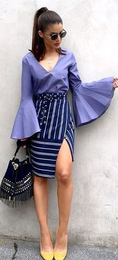 Bell Sleeve Purple Top + Striped Skirt Source
