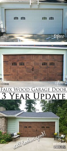 The perfect paint schemes for house exterior pinterest garage faux wood garage door 3 year update still lookin good diy tutorial solutioingenieria Choice Image
