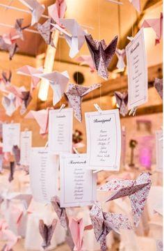 Plan de table thème oiseaux/Liberty/origami
