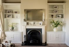 Newest Images victorian Fireplace Remodel Concepts Alcove Cupboards for your Living room Cottage Fireplace, Victorian Fireplace, Living Room With Fireplace, My Living Room, Country Fireplace, Fireplace Kitchen, Farmhouse Fireplace, Classic Fireplace, Faux Fireplace