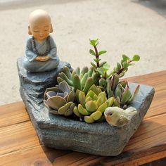 1pc Buddhism FENGSHUI Resin Flowerpot Succulent Plants Planter Monk Flower Pot Home Garden Decoration Bonsai Planter Flower Pot by MsDIYSupplies on Etsy