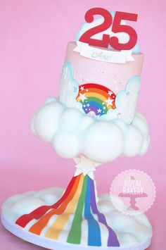 Floating cloud and rainbow cake.