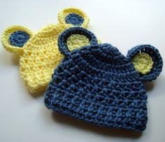 Adorable Crocheted Hat with Ears-Set of Two 03 months ♥ by Karenisa, $27.00