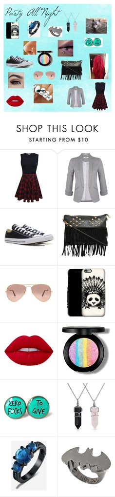 """""""Party All Night"""" by agitae on Polyvore featuring Miss Selfridge, Converse, Pilot, Ray-Ban, Lime Crime, Cultura, Bling Jewelry and Noir"""