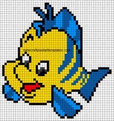 Minecraft Pixel Art Templates: Flounder (The Little Mermaid) Easy Pixel Art, Pixel Art Grid, Graph Paper Drawings, Graph Paper Art, Perler Bead Disney, Perler Bead Art, Perler Beads, Disney Cross Stitch Patterns, Cross Stitch Designs