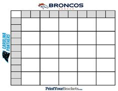 Printable Super Bowl Squares 25 Grid Office Pool