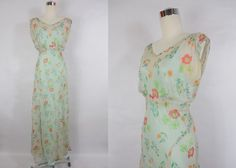1930's Vintage Blue Chiffon Floral Print Day by vintagebluemoon, $325.00