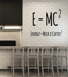 Vinyl Wall Decal Coffee Lover Physical Formula Funny Cafe Art Decor Stickers Mural - Home Page Small Coffee Shop, Coffee Shop Design, Cafe Design, Interior Design Coffee Shop, Kitchen Wall Decals, Vinyl Wall Decals, Vinyl Decor, Office Wall Decals, Kitchen Paint