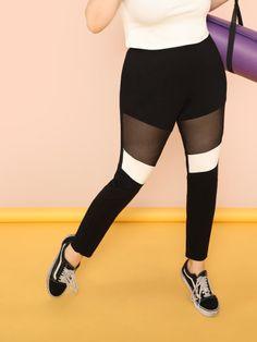 036fc4fa880978 Shop Mesh Insert Color Block Leggings online. SheIn offers Mesh Insert  Color Block Leggings &