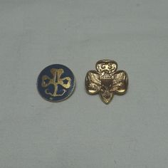 2 Vintage 1980s Girl Scout Pins, Eagle Gold Tone Membership Pin, and Blue Enamel World Trefoil Pin, With Locking Pin Backs, Girl Scouts by VictorianWardrobe on Etsy
