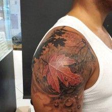 leaf quarter sleeve by joe Tattoo Shops Toronto, Tattoo You, Body Piercing, Watercolor Tattoo, Tatting, Body Art, Skull, Ink, Tattoo Ideas