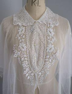 Антикварный / старинный незавершенный изысканный вышитый тюль и кружевная блузка / лиф | eBay