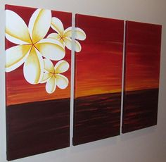 Red Sunset Frangipani Original Abstract Painting by by Artsolutely, $269.90