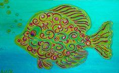 Green Swirly #Fish #Art