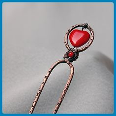 Hammered wire hair fork with red heart glass bead - Bridal hair accessories (*Amazon Partner-Link)