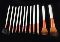 12 PCS del maquillaje profesional pincel blanco color de la manija de cepillo cosmético Kit Pink Case H1010E Fshow