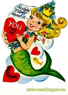 Vintage Retro Cute Mermaid Valentine Card Post Cards lowest price for you. - is-sit tiegħi Valentine Images, My Funny Valentine, Vintage Valentine Cards, Vintage Greeting Cards, Vintage Holiday, Valentine Day Cards, Vintage Postcards, Happy Valentines Day, Valentines Art