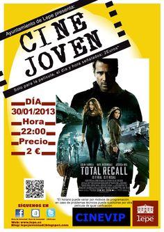 """Cine Joven presenta """"Total Recall"""" el miércoles 30/01 a las 22h. en Cinevip Lepe. 2 euros"""