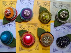 felted wool pins with vintage earring centers