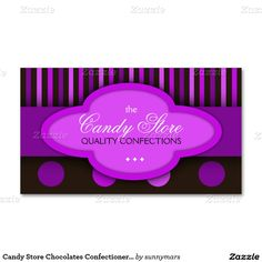 Candy Store Chocolates Confectionery Business Card Business Cards