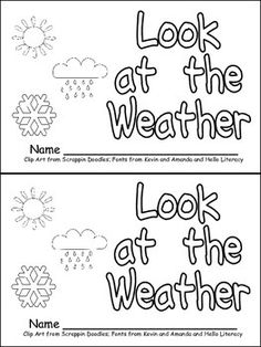 """This emergent reader little book will help young students in your kindergarten class practice early reading skills, while learning about weather!!  Throughout the book, students learn about different types of weather. The following vocabulary words are included: sunny, cloudy, partly sunny, rainy, stormy, windy, snowy, cold, and hot.  The book follows the pattern, """"Look at the weather. It is ..."""" to support emerging readers."""