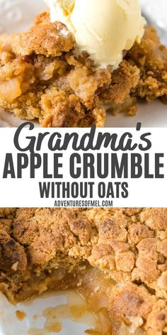 How to make an old-fashioned apple crumble without oats, from Grandma's recipe box. Sliced apples with a quick and easy cinnamon brown sugar topping. #applecrumble #nooats #cinnamon #brownsugar #applerecipes #easydesserts #fallrecipes Apple Cake Recipes, Healthy Dessert Recipes, Easy Desserts, Baking Recipes, Delicious Desserts, Easy Apple Crumble, Plum Crumble, How To Make Crumble, Recipe Using Apples