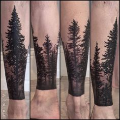 Forest Tattoo On Leg