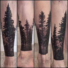Forest Tattoo On Leg