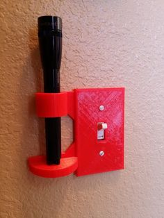 Small flashlight holder single light switch plate, great gift!