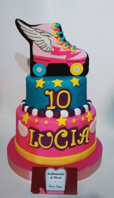 10 Birthday Cake, 80th Birthday, Birthday Candles, Roller Skating Party, Skate Party, Soy Luna Cake, Cake Cookies, Cupcake Cakes, Roller Skate Cake