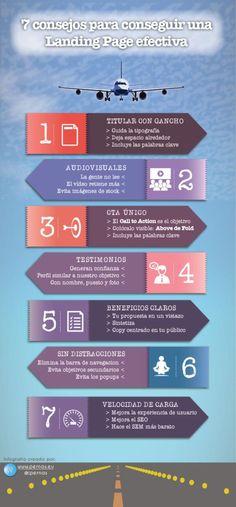 7 consejos para conseguir una Landing Page efectiva #infografia #marketing