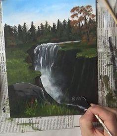 Kostenfreier Malkurs für Acrylfarben - Wasserfall im Herbst