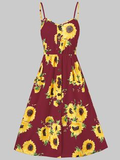 015ec51e7ed Sunflower Print Button Up A Line Cami Dress - RED WINE 2XL Jean Outfits