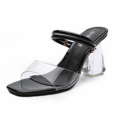 Black Strappy Slip On Clear Block Heel Sandals Clear Block Heels, Ladies Sandals, Slip On, Lady, Shoes, Fashion, Sandals, Moda, Zapatos