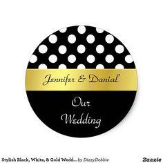 Shop Stylish Black, White, & Gold Wedding Envelope Seal created by DizzyDebbie.