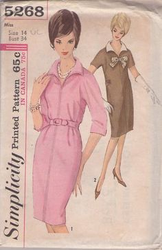 Simplicity 5268 Vintage 60's Sewing Pattern FABULOUS Mad Men Wing Collar Kimono Sleeve Straight Dress with Martingale Belt #MOMSPatterns
