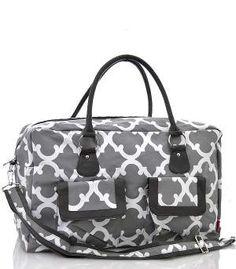 Monogrammed Weekender Bag/Personalized Gray weekender Bag/over night bag/duffle/gym/travel bag/dance bag by sewsassybootique on Etsy