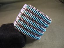 Large Vintage Zuni Navajo Needlepoint Turquoise & Sterling Silver Cuff Bracelet