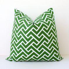 "Kelly Green Organic Geometric Designer Pillow Cover 20"" White Modern accent cushion hollywood regency imperial trellis zig zag chevron grass"