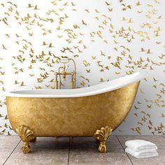 Gold Bird Pattern Bathroom Wallpaper with Free-standing Bath - Scandinavian Interiors