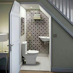 Bathroom designs under stairs toilet under stairs com small bathroom stairs . bathroom designs under stairs Small Downstairs Toilet, Small Toilet Room, Bathroom Layout, Bathroom Interior, Bathroom Designs, Tiny House Bathroom, Small Bathroom, Master Bathroom, Small Basement Bedroom