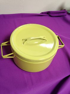Lime Green Seppo Mallat Enamel Cookware From Mid Century Era Like Dansk Kobenstyle
