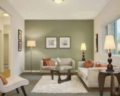 Make the focal point of the room your sage green statement wall. Sage Green Living Room, Contemporary Living Room Design, Living Room Inspiration, Living Room Color Schemes, Room Wall Colors, Apartment Living Room, Living Room Diy, Living Room Wall Color, Livingroom Layout