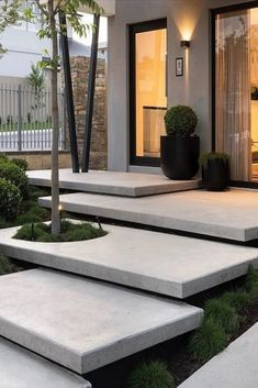What is your thought about this? - Every detail of the floating stairs in trowel finish concrete has been carefully considered to assist in… Landscape Design Plans, Landscape Materials, House Landscape, Landscape Architecture Design, Modern Architecture, Flower Landscape, Landscape Stairs, Garden Design Plans, Stairs Architecture
