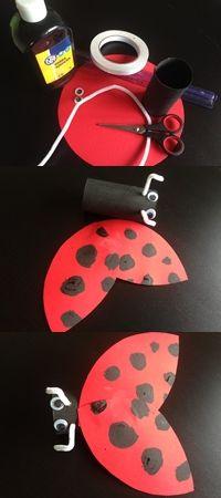 Biedroneczka w wersji łatwej. Wcześniej przygotowana rolka, czerwony papier i taśma dwustronnie klejąca. Idealna zabawa dla przedszkolaka.