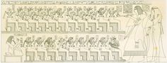 """Scene from the tomb of Inherkau (TT359) showing the Lords of the West (Illustration from 1849 book """"Denkmaeler aus Aegypten und Aethiopien."""" Top row, right to left: Amenhotep I, Ahmose, Ahhotep I, Ahmose-Meritamun, Sitamun, Siamun,?, Ahmose-Hennuttamehu, Ahmose-Tumerisy, Ahmose-Nebetta, Ahmose-Sipair; Bottom row, right to left: Ahmose-Nefertari, Ramesses I, Mentuhotep II, Amenhotep II, Seqenenre Tao, Ramose?, Ramesses IV, ?, Tuthmosis I. (ref: Dodson-Hilton), drawing by Lepsius)"""