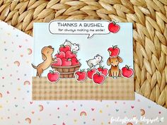 """fridayfinally: """"Thanks a bushel"""" a cute card feat. Lawn Fawn!"""